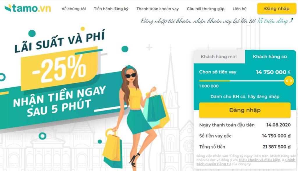 Dịch vụ vay tiền online nhanh trong ngày tại Tamo