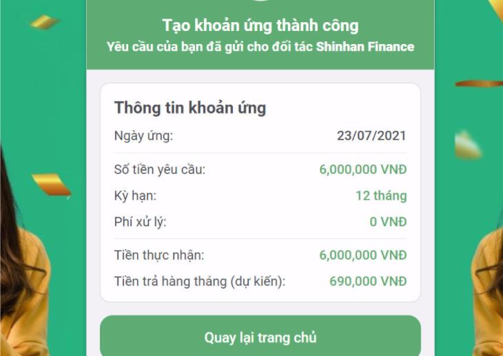 Ứng tiền online thành công
