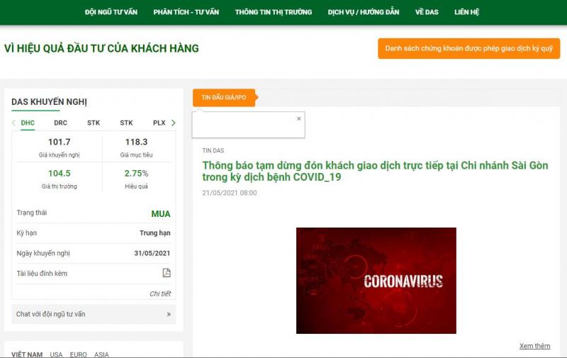 Giao diện các trang web đầu tư tài chính